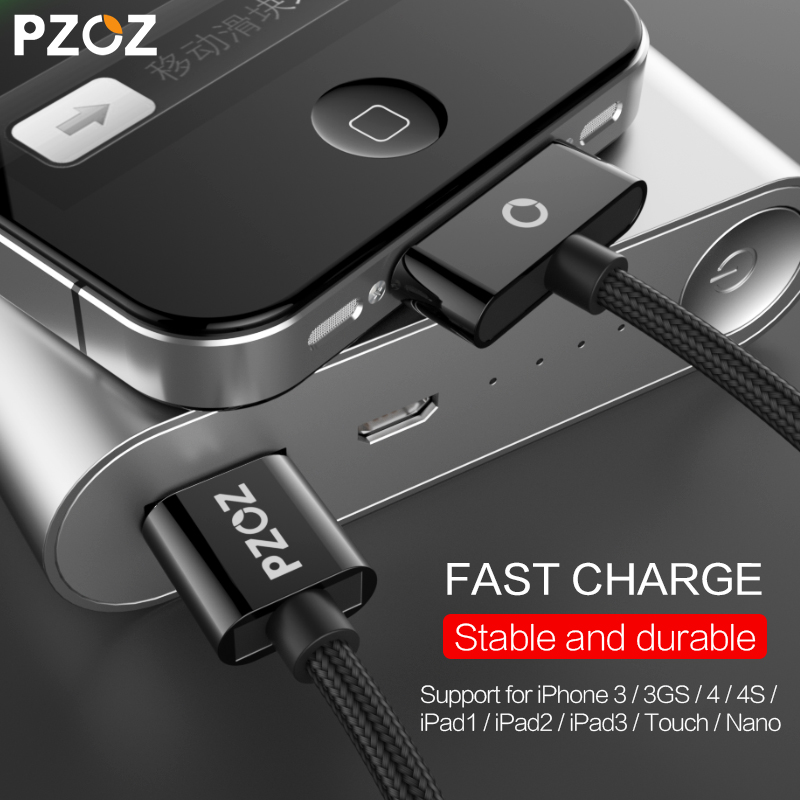 PZOZ USB Cable Fast Charger 30 Pin Charge adapter Cable Charging Data for iphone 4 s 4s 3GS iPad 2 3 iPod Nano 1 itouch Adapter