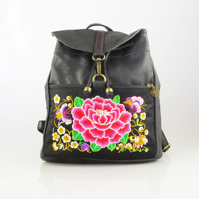 2017 National Women Pocket Genuine Leather FLOWER Embroidery Butterfly Peony Backpacks Rucksack Bags Casual Travel Shoulder Bag