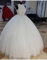 BRITNRY High Neck Ball Gown Wedding Dresses Luxury Beaded Sequin Tulle Illusion vestidos de noiva 2018 Bridal Dress