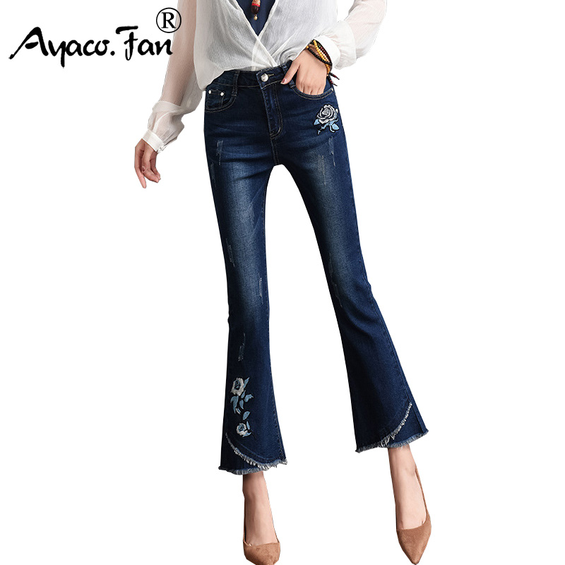 Vintage Embroidery Flower Ankle-Length Flare Pants Students New Fashion Regular Female Slim Denim Ladies Trousers Women   Jeans