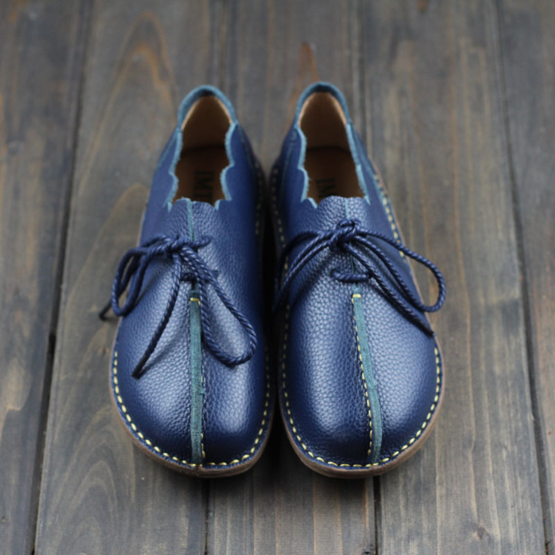 New 2017 spring,Genuine leather shoes,Pure handmade flat shoes,Women the retro art mori girl shoes,Women fashion Casual shoes 2017 new real superstar sale mens shoes casual flat men vintage retro custom doug luxury leather handmade fashion genuine