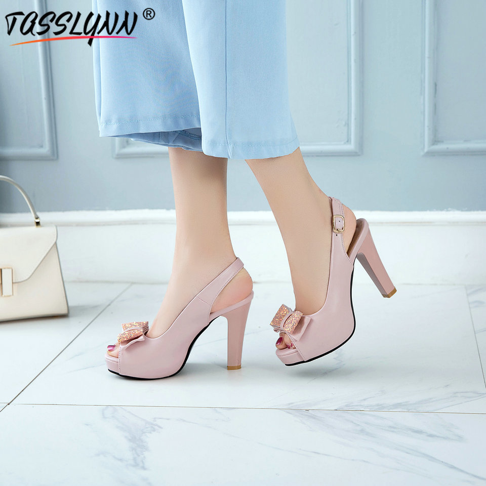 TASSLYNN 2019 Wedding Shoes Sexy Summer Peep Toe Women Pumps Platform Heels Thick Butterfly knot Buckle Women Shoes Size 12