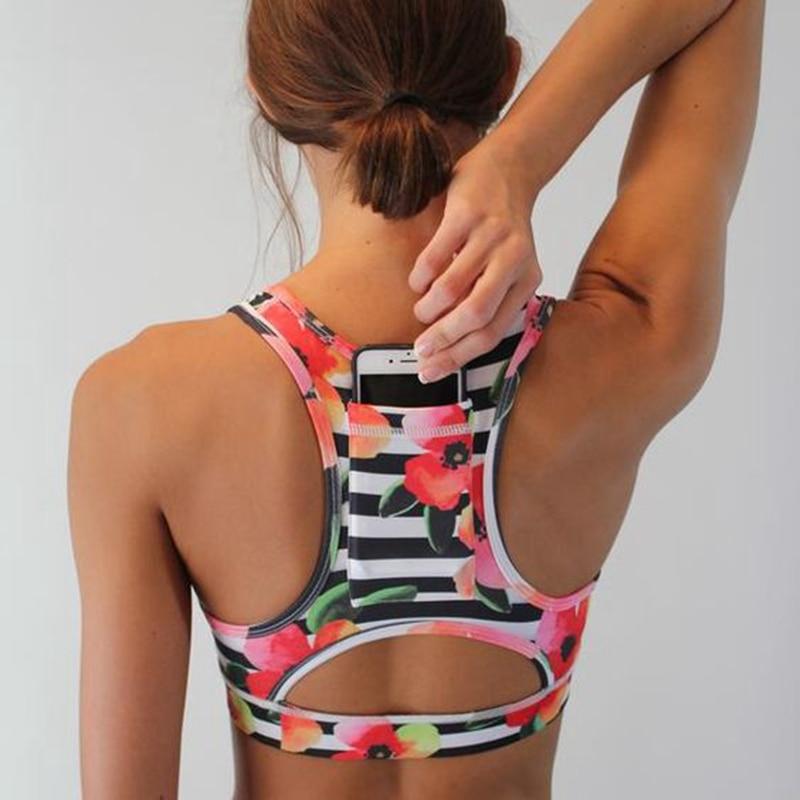 DUZUOLOVER della Donna Pro Compressione Imbottite Reggiseno Sportivo Abbigliamento Sportivo cinghia di Spaghetti Stampato Yoga Bra Top