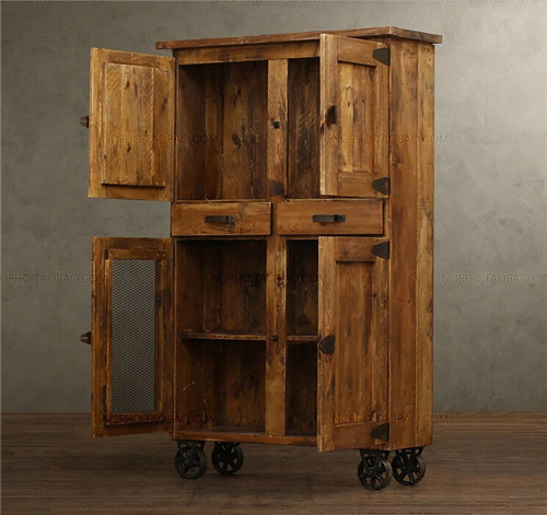 Old Retro Style Pine Wood Furniture