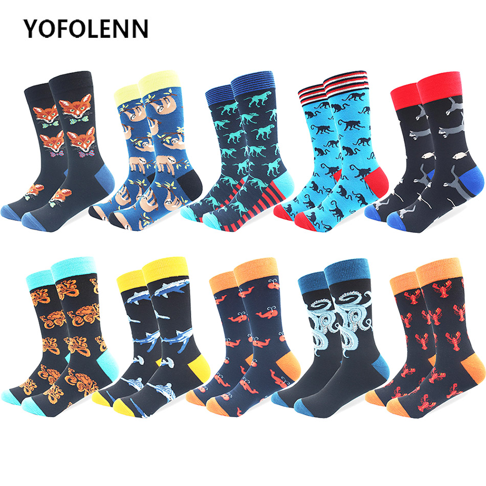 10 Pairs/lot Combed Cotton Socks Men's Long Tube Funny Shark Shrimp Whale Animal Pattern Socks High Quality Crazy Casual Socks