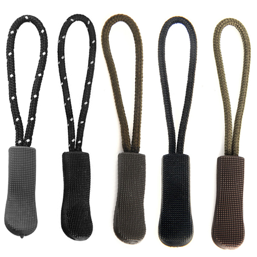 5Pcs Outdoor Camping Backpack Zipper Pulls Cord Rope Ends Lock Zip Clip Strap Gym Suit Garment Bag Accessories