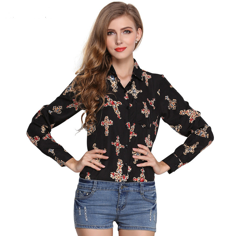 2019 European And American Women's Summer Loose Large Size Retro Lapel Long Sleeve Bottoming Shirt Printed Cross Chiffon Shirt
