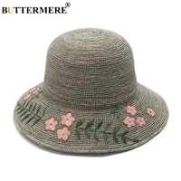 BUTTERMERE Straw Hats For Women Grey Embroidery Sun Hat Ladies Folding Summer Beach UV Bucket Hat Female Wide Brim Boater Caps