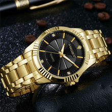 Men's Stylish Golden Wristwatch with Metal Band