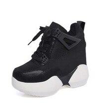 Women's Heels Black Platform Shoes 11CM Girls Ladies Pumps Chaussures Sport Wedges