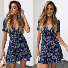 купить Ruffle Floral Print Short Sleeve A-Line Party Dress 2019 Fashion Button V-neck Summer Beach Dress Women Mini Dress Belt по цене 652.61 рублей