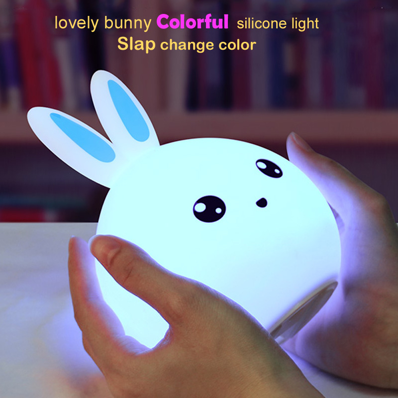 Colorful Bunny LED Night Light Animal Light USB Rechargeable Silicone Soft Cartoon Touch Light Children Night Lamp Bedroom Light