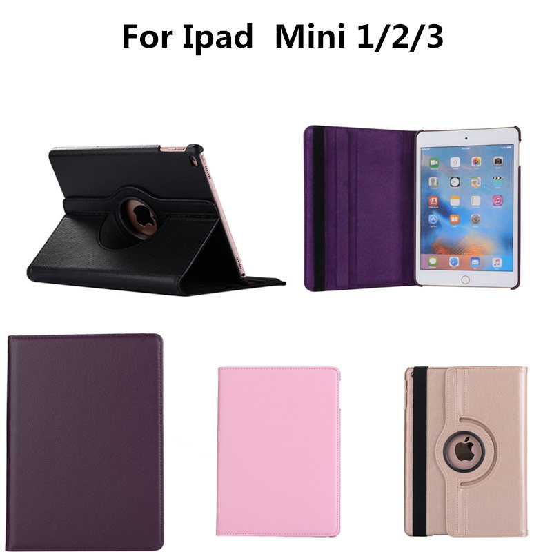 PU Leather Case For iPad mini 1 2 3 7.9 inch Tablet 360 Rotation flip Smart with stand function Cover case for Apple Mini2 Mini3
