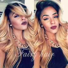 180%density Ombre Wig honey Blond Two Tone Synthetic Hair wig  brazilian body wave Natural Wig Ombre glueless Lace Front Wig