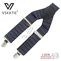 MBD8317High Quality Leather male western-style trousers elastic spaghetti 3 clasps adjustable Dots Men suspenders
