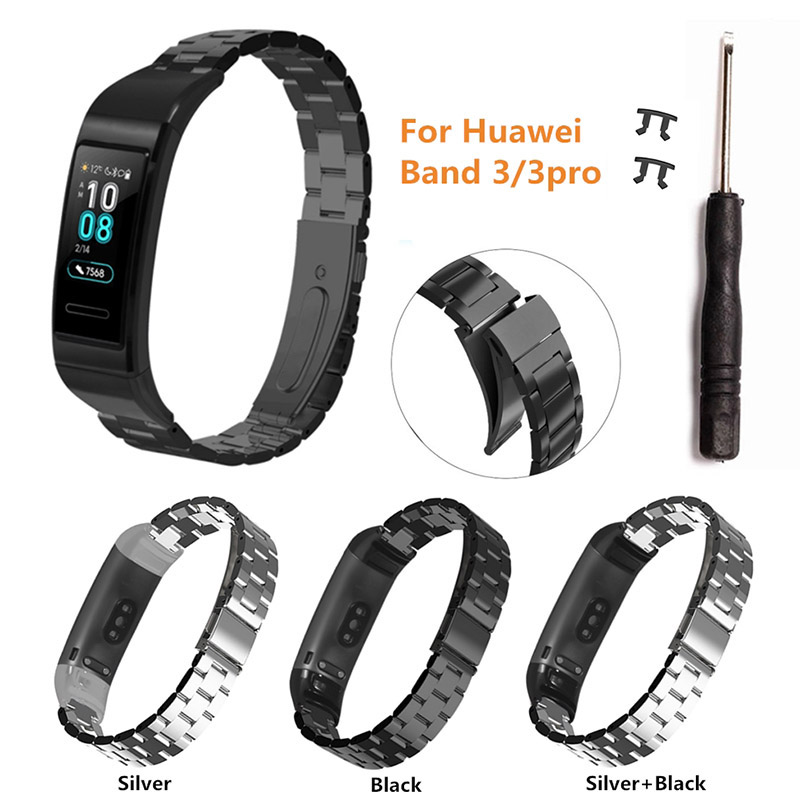 Stainless Steel Watch Band Strap Loop Wristband for HUAWEI Band 3/3 Pro DJA99