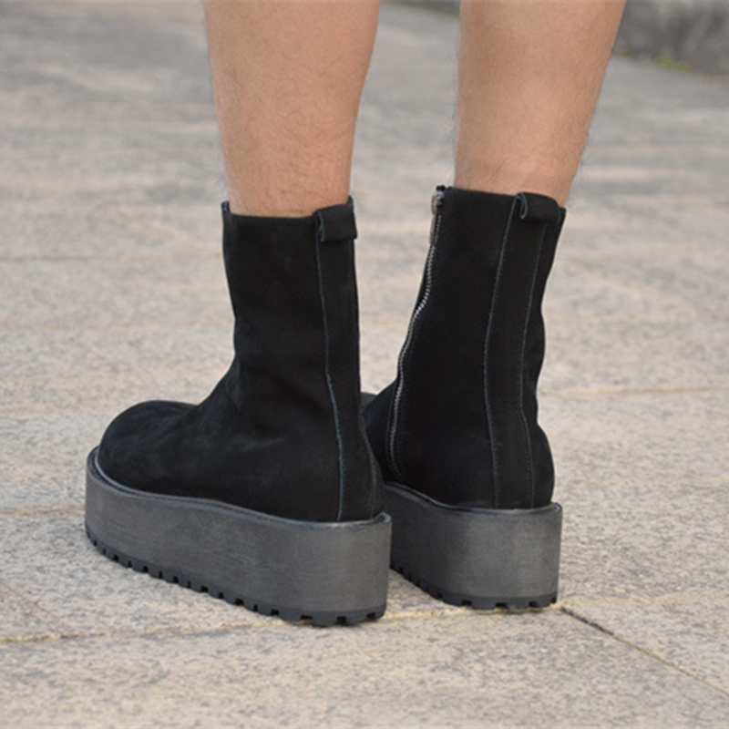 creepers Real leather bootie Cow suede brand male Casual shoes tall  Footwear high top Thick sole tide Platform Harajuku boot men-in Basic Boots  from Shoes ... 3a783bbb8e9e
