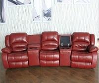 Woonkamer sofa Fauteuil Sofa, echte koe Lederen Sofa, Cinema theater sofa meubelen 3 zits chaise bed couch