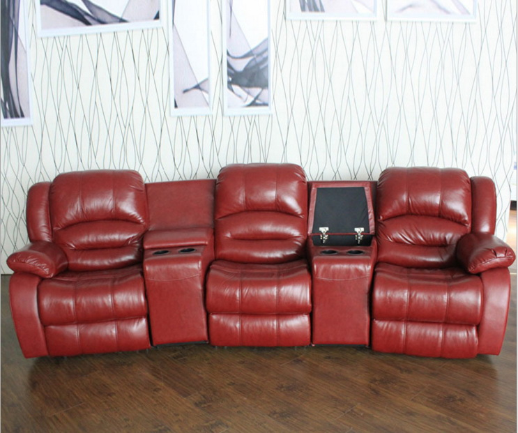 Living Room Sofa Recliner Sofa, Real Cow Genuine Leather Sofa, Cinema Theater Sofa Home Furniture 3 Seater Chaise Bed Couch