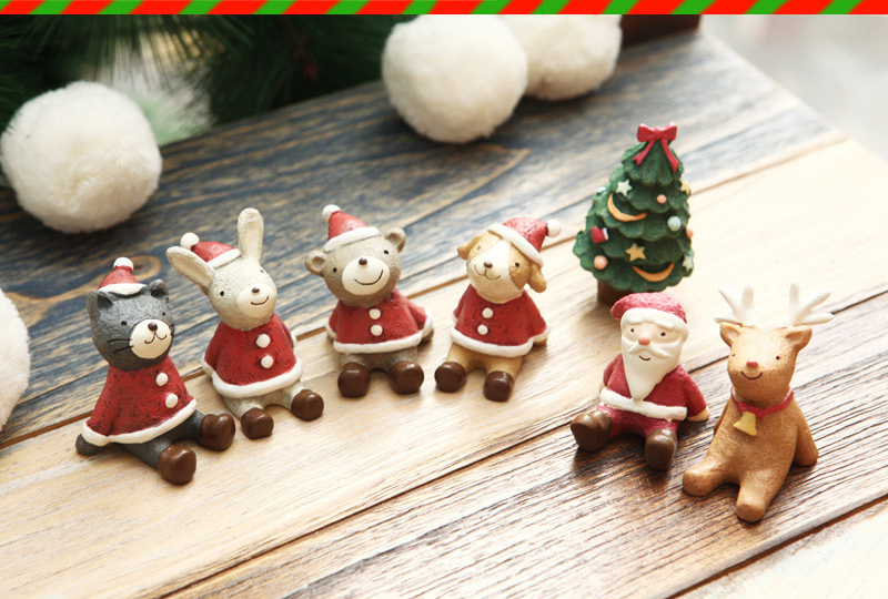 10pcsset christmas miniatures figurines look up to the sky cute resin animals christmas decorations for home 4 in party diy decorations from home garden - Christmas Miniatures