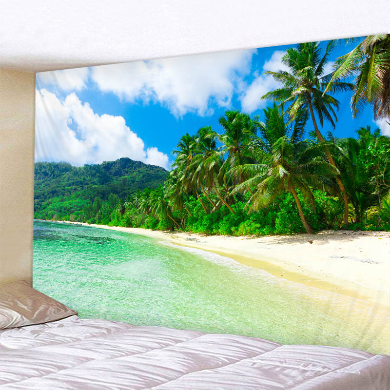 The Seaside Scenery Tapestry Digital Printed Wall Handing Sandy Beach Towel