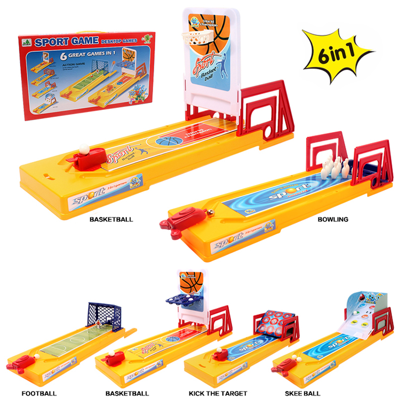WOWCHEER Family Entertainment Board Game Creative 6 in 1 Basketball Bowling Football Sport Game Puzzles Toy For Children набор для аэробоулинга с подсветкой супер страйк bowling game with hower ball