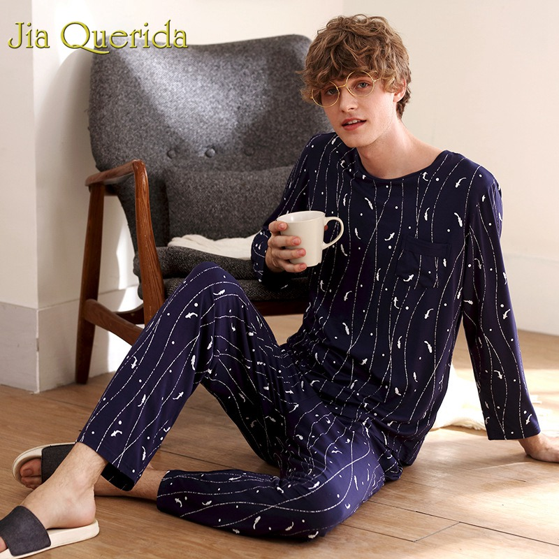 J&Q Pajama Men 2019 Fashion Male's Home Wear Clothing Long Sleeve Modal Spring Sleepwear Printing Pajamas Sleeping Suits For Men