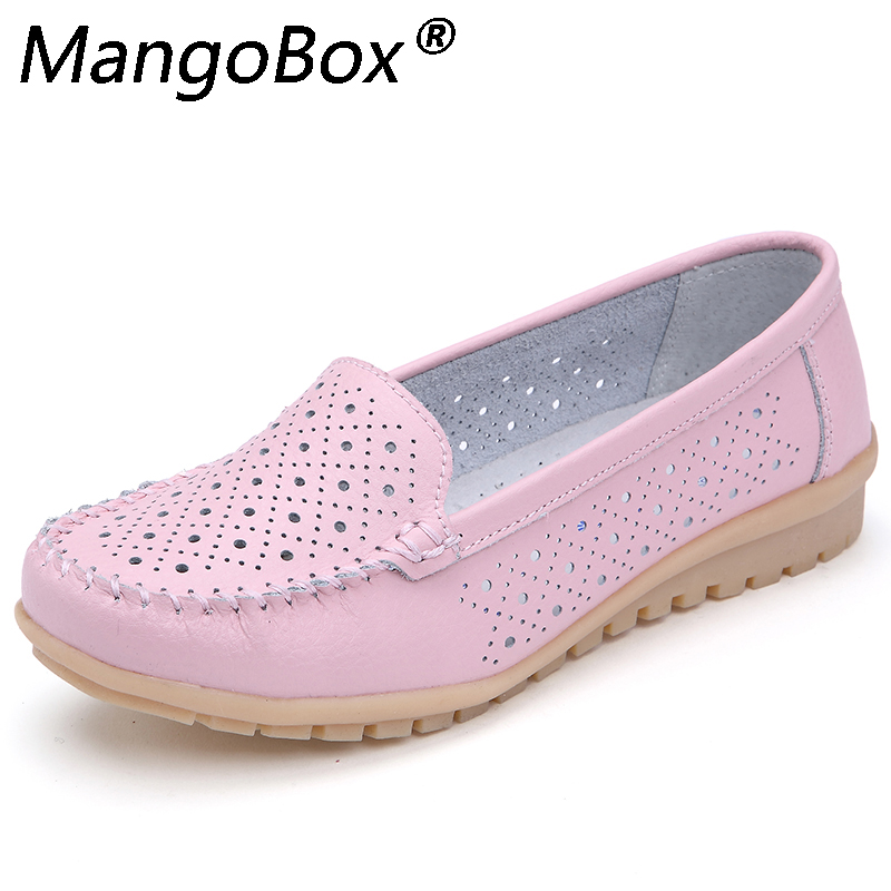 2018 Summer Women Ballet Flats Genuine Leather Loafers Shoes Slip on Flat Heel Shoes Ladies Casual Pink Yellow Ballerina Flats