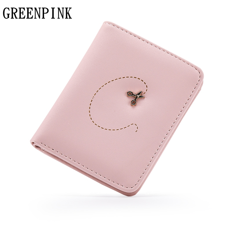 GREENPINK Brand Mini Clip Wallet Women New Slim Wallet Female Fashion Quality PU Leather Small Wallets for Girls Cute Coin Purse 2017 purse owl se cute wallets for children lovely coin purses for women mini bags for girls trinket small pouch wallet card zip