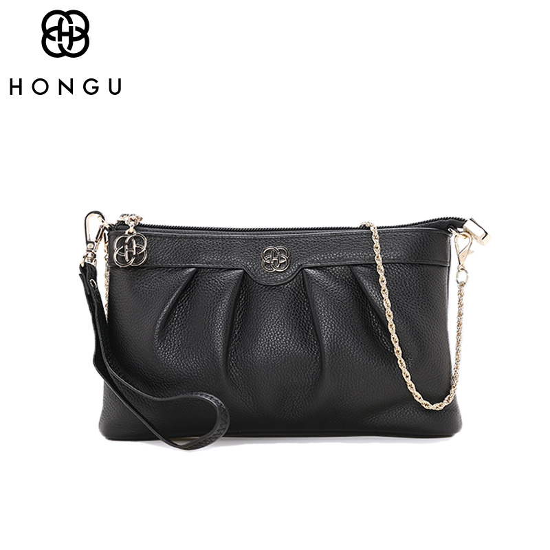 HONGU Luxury Handbags Top Layer Cow Leather Shoulder Bag Women Chains Messenger Bags Famous Brands Genuine Leather Crossbody Bag chains genuine leather shoulder bags vintage for women famous luxury brands designer style crossbody messenger bag