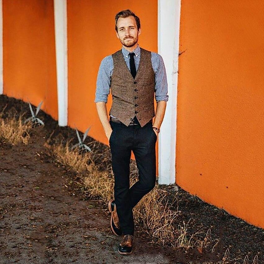 Mens Herringbone Tweed Suit Vest Slim Fit Waistcoat Groom Formal Vest