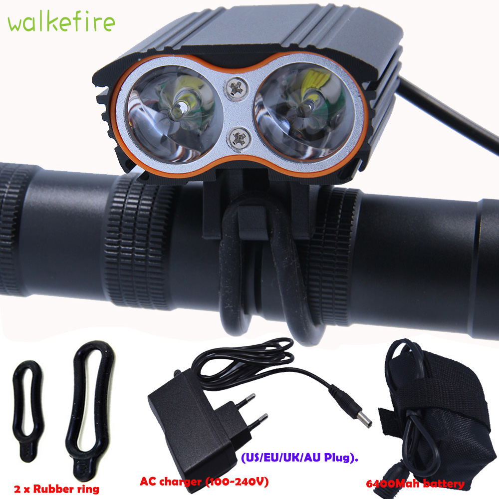 Walkfire Waterproof 5000 Lumen 2x T6 Bicycle Light Bike Headlamp Cycling Front Headlight + Battery Pack +Charger 4 Switch Modes 6000 lumen 3 xml l2 led bicycle bike light headlamp headlight lampe frontal 5 modes rechargable 6400mah battery pack for cycling