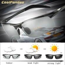 CoolPandas marka projektant aluminium magnezu okulary przeciwsłoneczne fotochromowe polaryzacyjne mężczyźni jazdy na dzień i noc zonnebril mannen