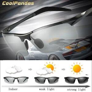 Image 1 - CoolPandas marka projektant aluminium magnezu okulary przeciwsłoneczne fotochromowe polaryzacyjne mężczyźni jazdy na dzień i noc zonnebril mannen