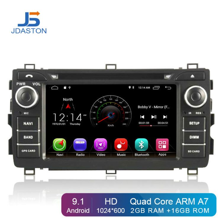 JDASTON <font><b>Android</b></font> 9.1 <font><b>Car</b></font> Multimedia Player For Toyota AURIS 2013 2014 2015 2 Din <font><b>Car</b></font> Radio GPS Navigation DVD CD IPS Stereo WIFI image