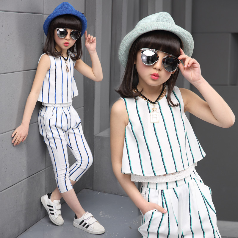 Girls clothing sets 2017 summer fashion striped vest T-shirt pants two pieces kids tracksuit children clothing set kids clothes