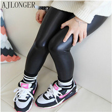2016 Spring Autumn Imitation Leather Pants Girl Baby Kids Leggings Children Fashion Legging