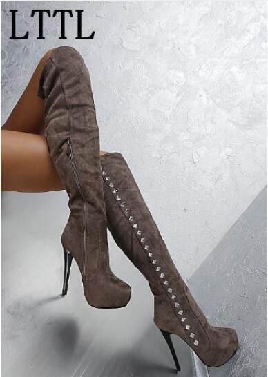 2017 Winter Fashion Crystal Bling Bling Over The Knee Women Boots Side Zipper Platform Super High Heel Sexy Party Dress Boots