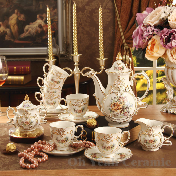 New arrival classical flowers design embossed outline in gold bone china 15pcs coffee set coffee pot cups and saucers tea set