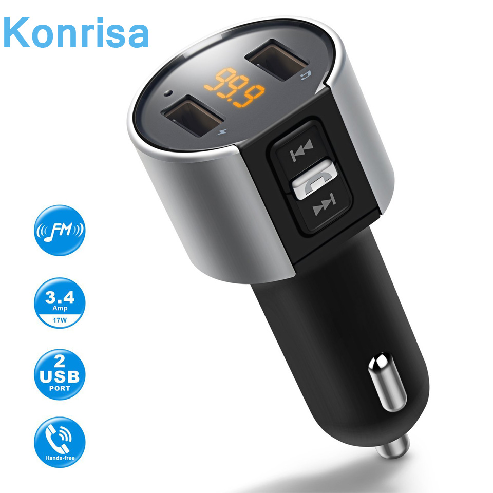 Bluetooth Fm Transmitter Wi-fi In Automotive Mp3 Participant V4.2 Bluetooth Automotive Package Fm Radio Transmitter Modulator Twin Usb Charger Port