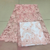 Elegant 3D Flower Embroiderey Pearl Beaded Lace Applique Lace Trim Dress Fabrics Material Gold/Pink HJ551 1