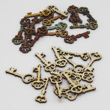 50pcs/lot key Shape Wooden Chips supplies for Embellishments Wedding Party Home Decorative Buttons Handwork Accessories