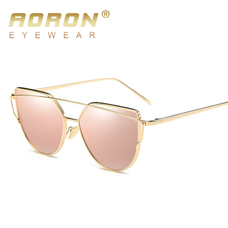2017 New Fashion Alloy Frame Cat Eye Sunglasses Brand designer Women Retro Luxury Gold Glasses Oculos de sol UV400