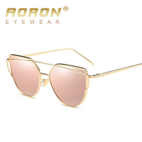 2017 New Fashion Alloy Frame Cat Eye Sunglasses Brand designer Women Retro Luxury Gold Glasses Oculos de sol UV400