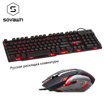 Sovawin Wired Russian Keyboard with Gaming Mouse 3 Colors Breathe Backlight Removable Keycaps Waterproof design Gamer PC Laptop เมาส์