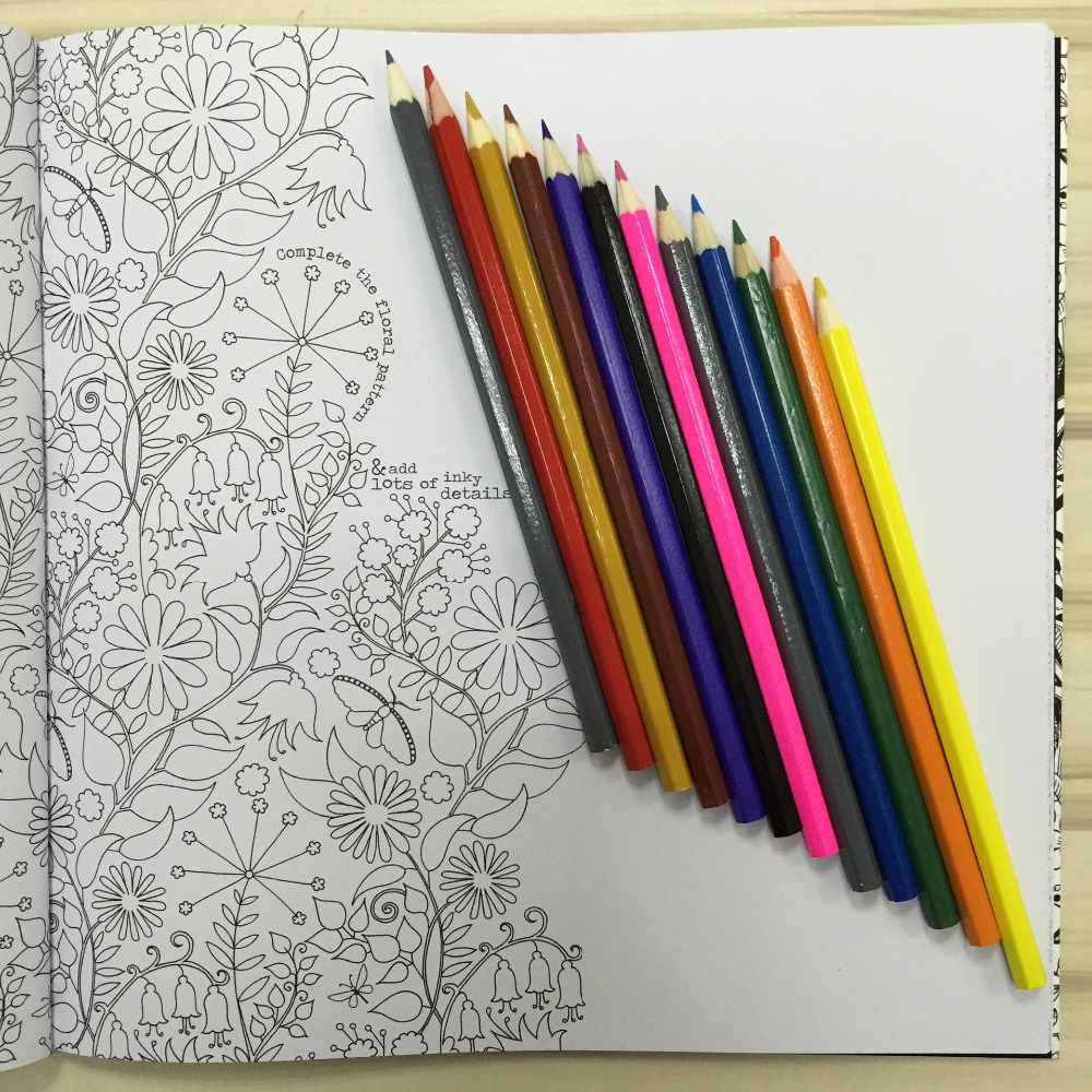 Online Shop Secret Garden Coloring Book Adult Hand Drawn Pencils 12 Pcs Relieve Stress Graffiti Painting Drawing English