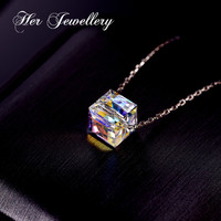 Her Jewellery S925 silver necklace girl clavicle chain Classic Cube Pendant necklace 2019 made with crystal from swarovski