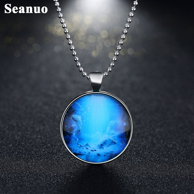 Seanuo night glow zodiac pendant fluorescent pisces necklace 12 seanuo night glow zodiac pendant fluorescent pisces necklace 12 constellation glass dome jewelry horoscope signs necklaces aloadofball Gallery