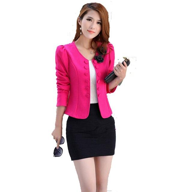 US $18.0 |Frauen kurze kleine Blazer Jacken 2017 Frühling Herbst Mode weiße rose red Blazer Femenino Weiblichen kleidung Blazer 120 in Frauen kurze