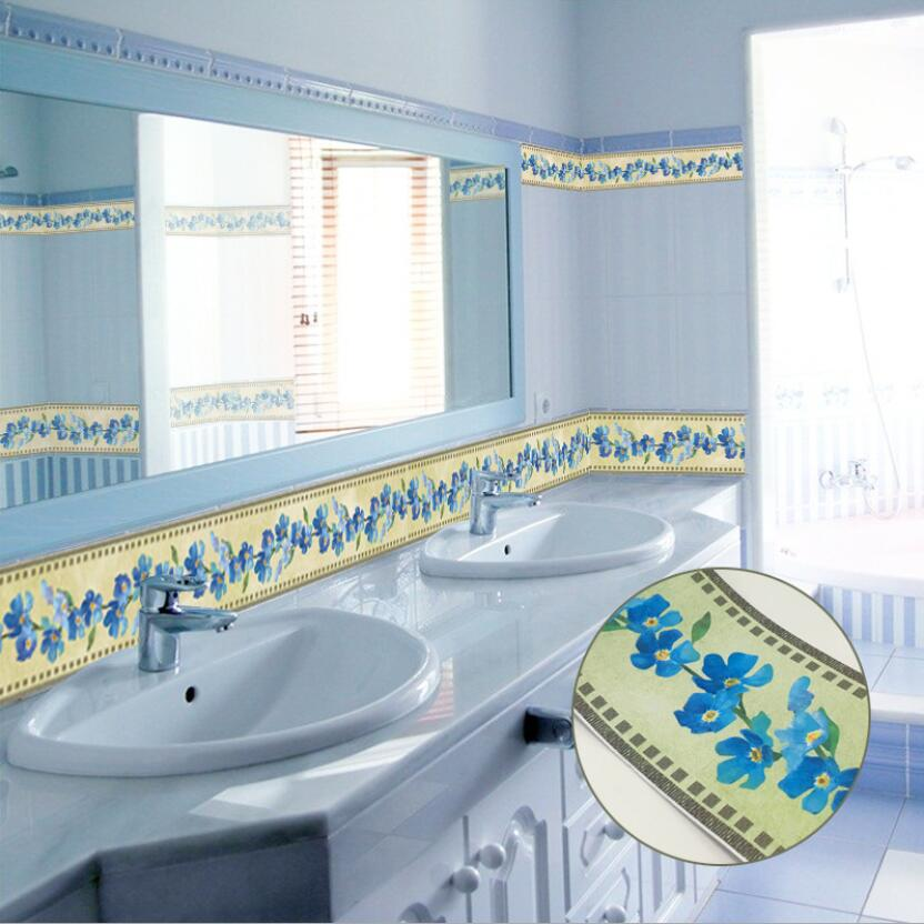 Vintage Classic Blue Flower Mirror Wall Stickers